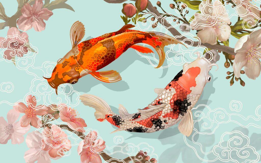 Dos peces japoneses nadando
