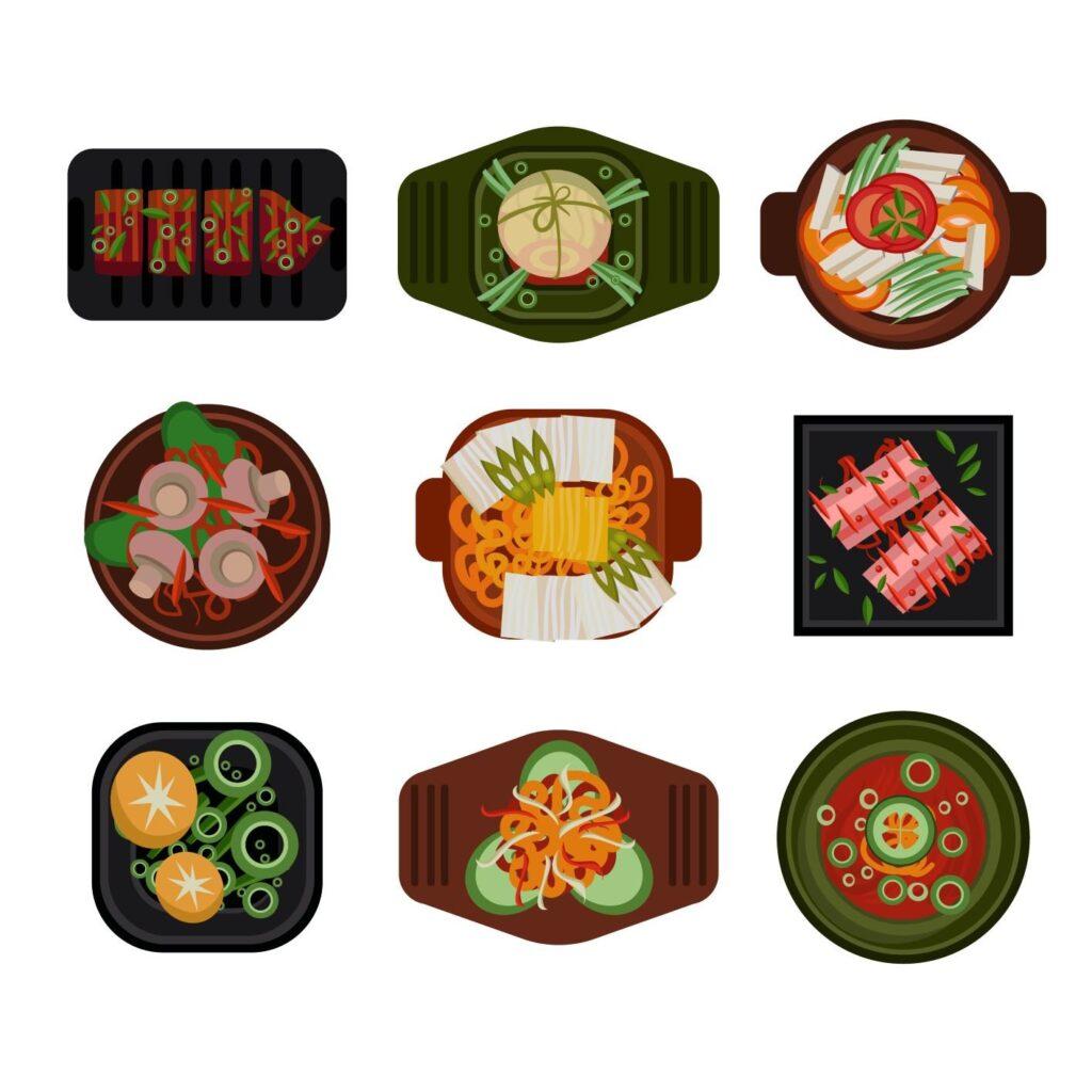 Diversos platos de comida china