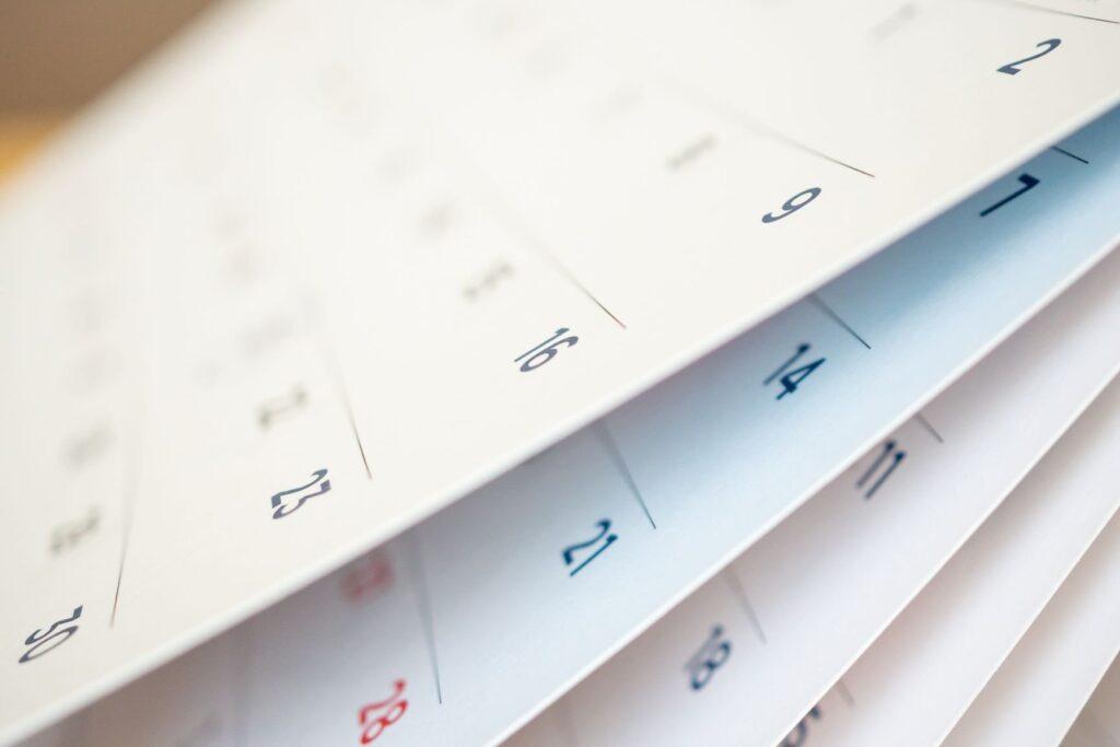 Calendario con los meses en chino